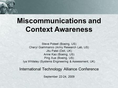 Miscommunications and Context Awareness