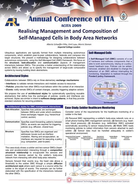 Annual Conference of ITA ACITA 2009 Realising Management and Composition of Self-Managed Cells in Body Area Networks Alberto Schaeffer-Filho, Emil Lupu,