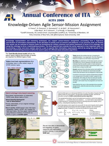 Annual Conference of ITA ACITA 2009 Knowledge-Driven Agile Sensor-Mission Assignment A. Preece*, D. Pizzocaro*, K. Borowiecki*, G. de Mel, W. Vasconcelos,