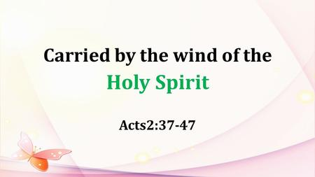 Carried by the wind of the Holy Spirit Acts2:37-47.