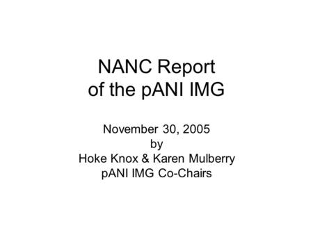 NANC Report of the pANI IMG November 30, 2005 by Hoke Knox & Karen Mulberry pANI IMG Co-Chairs.