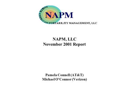 NAPM, LLC November 2001 Report Pamela Connell (AT&T) Michael OConnor (Verizon)