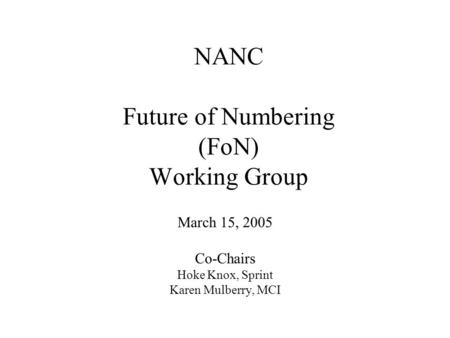NANC Future of Numbering (FoN) Working Group March 15, 2005 Co-Chairs Hoke Knox, Sprint Karen Mulberry, MCI.
