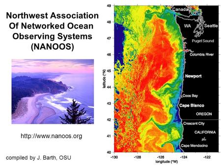 Seattle Puget Sound WA Canada Northwest Association Of Networked Ocean Observing Systems (NANOOS)  compiled by J. Barth, OSU.