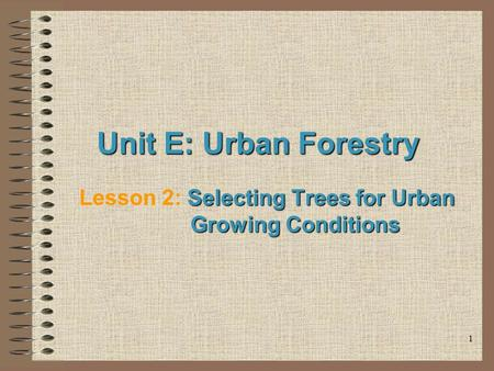 1 Unit E: Urban Forestry Selecting Trees for Urban Growing Conditions Lesson 2: Selecting Trees for Urban Growing Conditions.