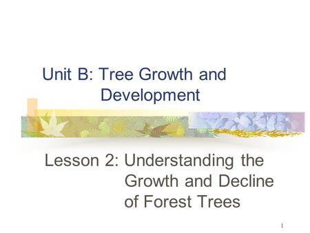 1 Unit B: Tree Growth and Development Lesson 2: Understanding the Growth and Decline of Forest Trees.