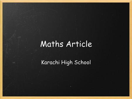 Maths Article Karachi High School. Misconceptions about Relations The article: