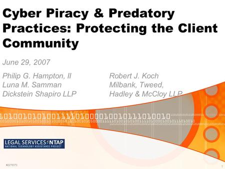 1 Cyber Piracy & Predatory Practices: Protecting the Client Community June 29, 2007 Philip G. Hampton, IIRobert J. Koch Luna M. SammanMilbank, Tweed, Dickstein.