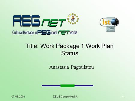 07/06/2001ZEUS Consulting SA1 Title: Work Package 1 Work Plan Status Anastasia Pagoulatou.