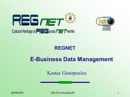 08/06/2001ZEUS Consulting SA1 REGNET E-Business Data Management Kostas Giotopoulos.