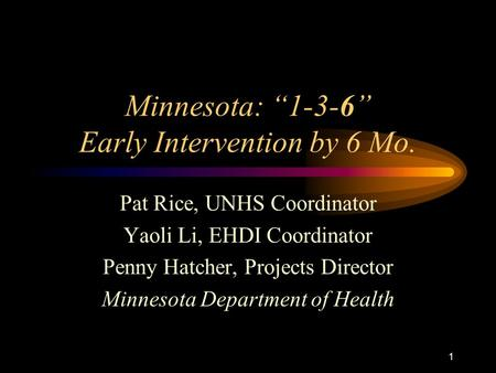 1 Minnesota: 1-3-6 Early Intervention by 6 Mo. Pat Rice, UNHS Coordinator Yaoli Li, EHDI Coordinator Penny Hatcher, Projects Director Minnesota Department.