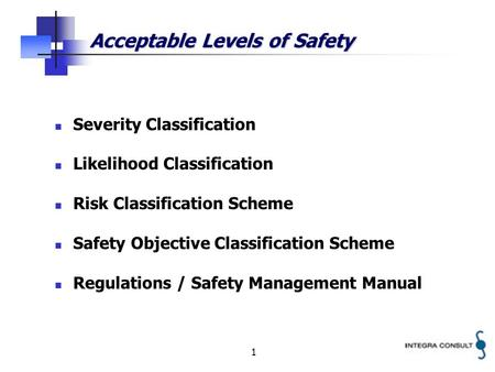 1 Acceptable Levels of Safety Severity Classification Likelihood Classification Risk Classification Scheme Safety Objective Classification Scheme Regulations.