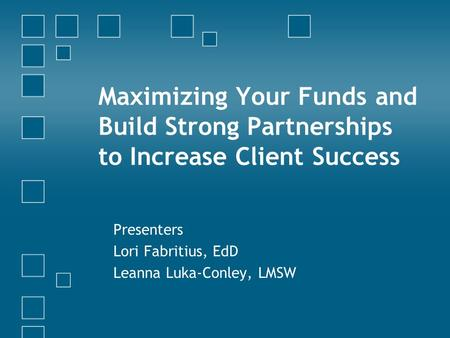 Maximizing Your Funds and Build Strong Partnerships to Increase Client Success Presenters Lori Fabritius, EdD Leanna Luka-Conley, LMSW.
