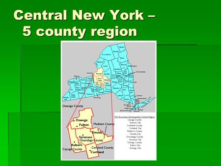 Central New York – 5 county region. …focused on programs Economic Development Workforce Development Education Business.