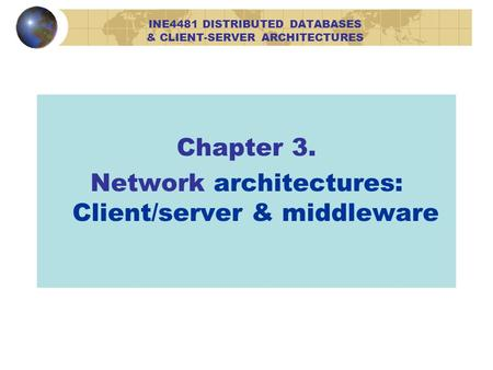 Chapter 3. Network architectures: Client/server & middleware INE4481 DISTRIBUTED DATABASES & CLIENT-SERVER ARCHITECTURES.