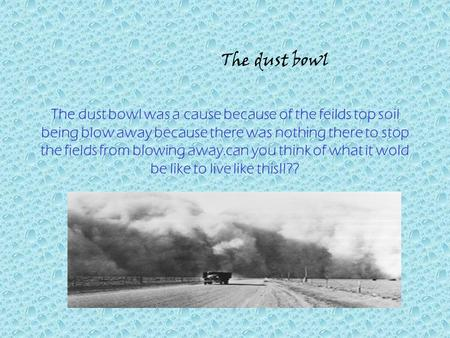 The dust bowl was a cause because of the feilds top soil being blow away because there was nothing there to stop the fields from blowing away.can you think.