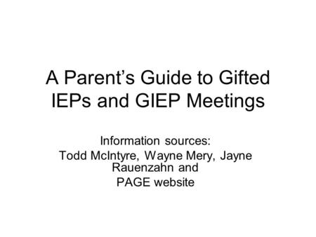 A Parent's Guide to Gifted IEPs and GIEP Meetings