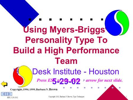 HDI, 5-29-2002 Copyright 2002, Barbara N. Brown, Type Techniques1 Using Myers-Briggs ® Personality Type To Build a High Performance Team Help Desk Institute.
