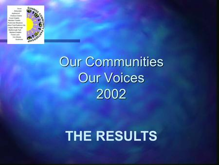 Our Communities Our Voices 2002 THE RESULTS. 2 MAP.