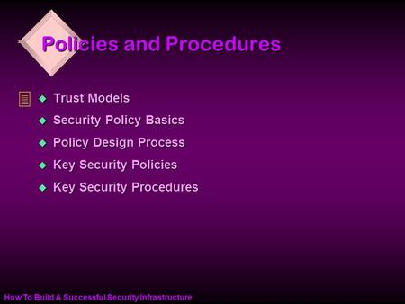 How To Build A Successful Security Infrastructure Policies and Procedures u Trust Models u Security Policy Basics u Policy Design Process u Key Security.