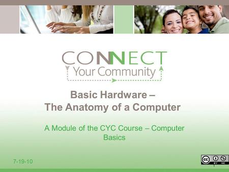 1 Basic Hardware – The Anatomy of a Computer A Module of the CYC Course – Computer Basics 7-19-10.