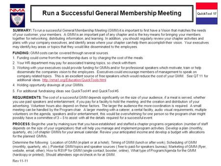 Run a Successful General Membership Meeting SUMMARY: To run a successful General Membership Meeting (GMM) it is important to first have a Vision that matches.