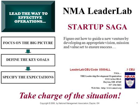 1 NMA LeaderLab STARTUP SAGA FOCUS ON THE BIG PICTURE DEFINE THE KEY GOALS SPECIFY THE EXPECTATIONS Figure out how to guide a new venture by developing.