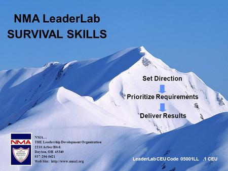 1 Set Direction NMA LeaderLab SURVIVAL SKILLS Prioritize Requirements Deliver Results NMA… THE Leadership Development Organization 2210 Arbor Blvd. Dayton,