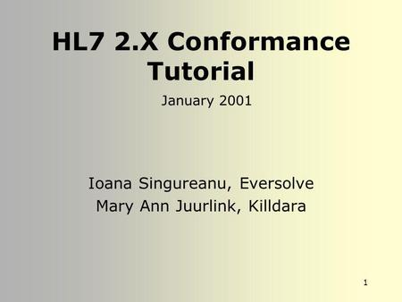 1 HL7 2.X Conformance Tutorial Ioana Singureanu, Eversolve Mary Ann Juurlink, Killdara January 2001.