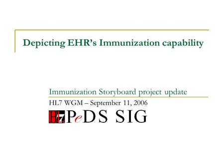 Depicting EHRs Immunization capability HL7 WGM – September 11, 2006 Immunization Storyboard project update.