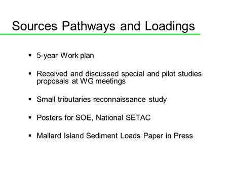 Sources Pathways and Loadings 5-year Work plan Received and discussed special and pilot studies proposals at WG meetings Small tributaries reconnaissance.