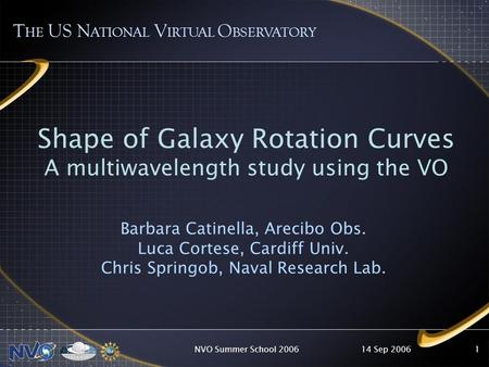 14 Sep 2006NVO Summer School 20061 T HE US N ATIONAL V IRTUAL O BSERVATORY Shape of Galaxy Rotation Curves A multiwavelength study using the VO Barbara.