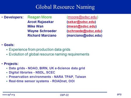 GFS OGF-22 Global Resource Naming Developers: Reagan Moore Arcot Mike.