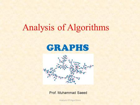 GRAPHS Prof. Muhammad Saeed Analysis of Algorithms Analysis Of Algorithms1.