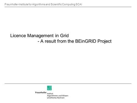 Fraunhofer-Institute for Algorithms and Scientific Computing SCAI Licence Management in Grid - A result from the BEinGRID Project.