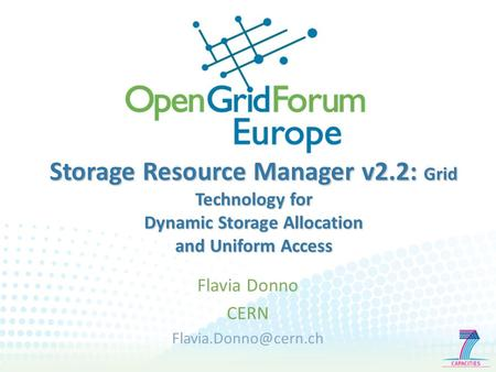 Storage Resource Manager v2.2: Grid Technology for Dynamic Storage Allocation and Uniform Access Flavia Donno CERN