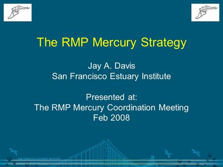 The RMP Mercury Strategy Jay A. Davis San Francisco Estuary Institute Presented at: The RMP Mercury Coordination Meeting Feb 2008.
