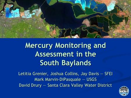 Mercury Monitoring and Assessment in the South Baylands Letitia Grenier, Joshua Collins, Jay Davis SFEI Mark Marvin-DiPasquale USGS David Drury Santa Clara.