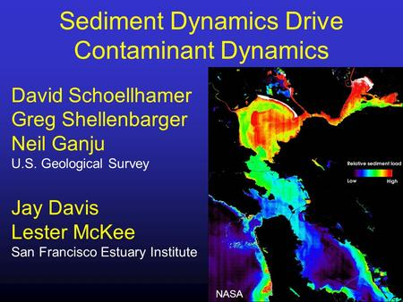 Sediment Dynamics Drive Contaminant Dynamics David Schoellhamer Greg Shellenbarger Neil Ganju U.S. Geological Survey Jay Davis Lester McKee San Francisco.