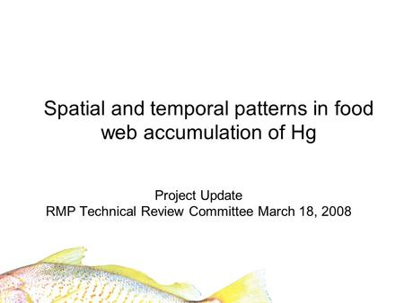 Spatial and temporal patterns in food web accumulation of Hg Project Update RMP Technical Review Committee March 18, 2008.