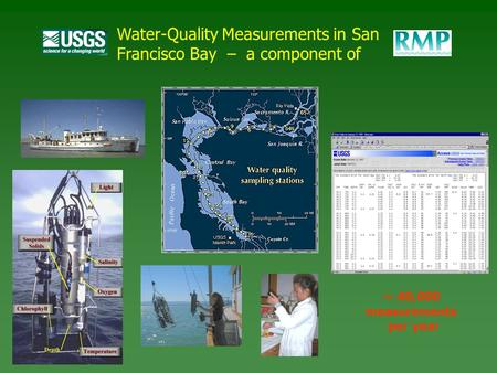 Water-Quality Measurements in San Francisco Bay – a component of ~ 40,000 measurements per year.