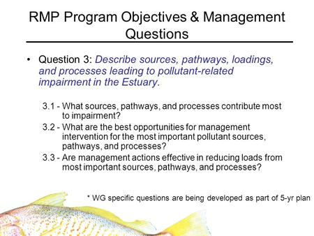 RMP Program Objectives & Management Questions Question 3: Describe sources, pathways, loadings, and processes leading to pollutant-related impairment in.