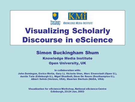 Visualizing Scholarly Discourse in eScience Simon Buckingham Shum Knowledge Media Institute Open University, UK In collaboration with: John Domingue, Enrico.