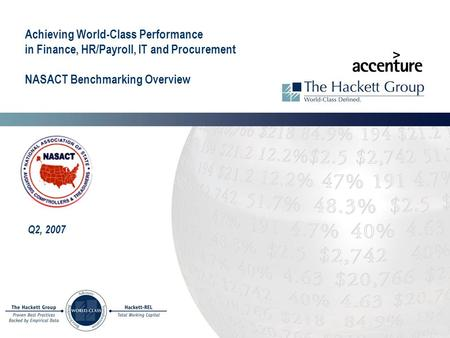 Achieving World-Class Performance in Finance, HR/Payroll, IT and Procurement NASACT Benchmarking Overview Q2, 2007.
