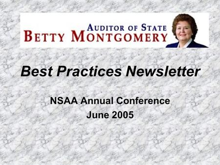 Best Practices Newsletter NSAA Annual Conference June 2005.