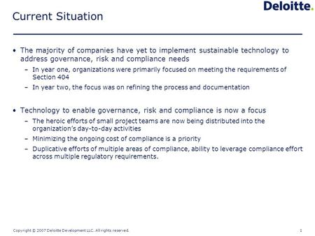 Compliance Technology Solutions NASACT Presentation Material Robert Garagiola – AERS National Technology Practice January 31 st, 2007.