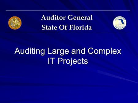 Auditing Large and Complex IT Projects Auditor General State Of Florida.