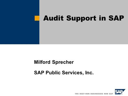 Milford Sprecher SAP Public Services, Inc. Audit Support in SAP.