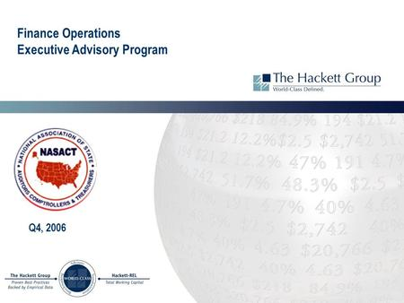 Finance Operations Executive Advisory Program Q4, 2006.