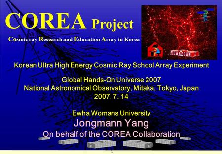 1 Korean Ultra High Energy Cosmic Ray School Array Experiment Global Hands-On Universe 2007 National Astronomical Observatory, Mitaka, Tokyo, Japan 2007.